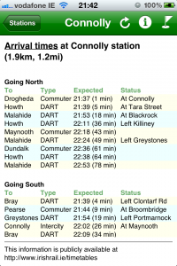 must DART: a typical live-info timetable